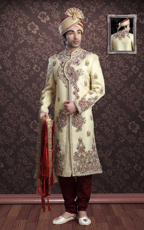 Cream & Maroon Jacquard Sherwani by Salwar Kameez in The Hundred-Foot Journey