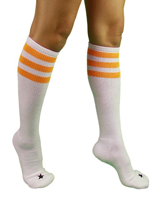 Unisex Triple Stripe Sporty Knee High Stars Socks by YogaColors in Let's Be Cops