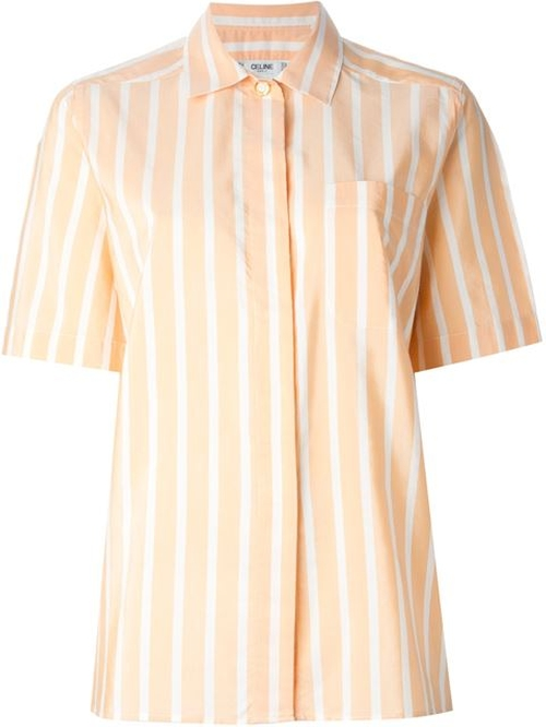 Striped Short Sleeve Shirt by Celine Vintage in Brooklyn