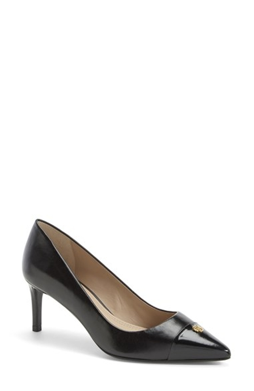 'Fairford' Leather Pointy Toe Pump by Tory Burch in Spy