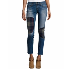 Dre Low-Rise Patchwork Denim Jeans by Rag & Bone/Jean in Quantico