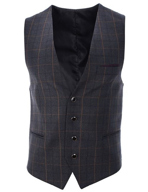 Checks Pattern Casual Vest Waistcoat by Flatseven in Unfinished Business