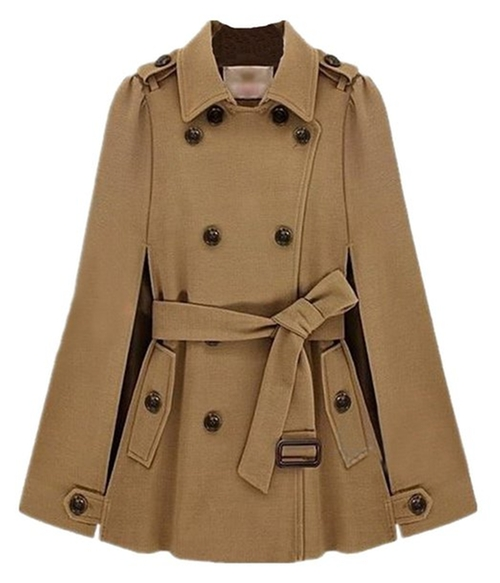 Camel Lapel Drawstring Buttons Cape Coat by Vshop-2000 in She's Funny That Way