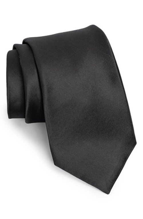 Solid Satin Silk Tie by Nordstrom in Only God Forgives