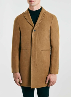 Selected Homme Wool Blend Camel Coat by Topman in The Legend of Tarzan