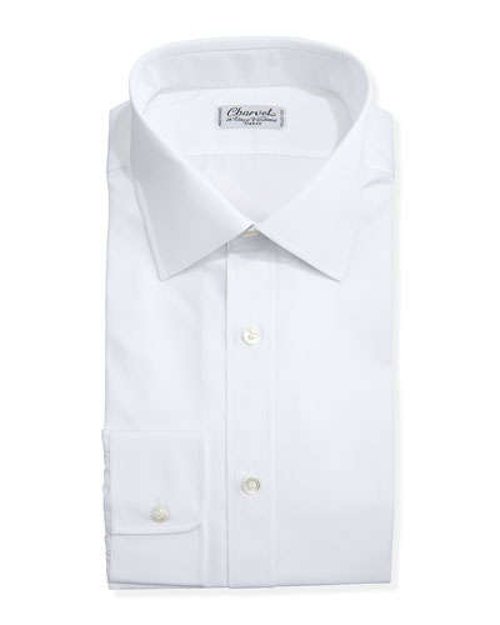 Solid Poplin Dress Shirt by Charvet in Spy
