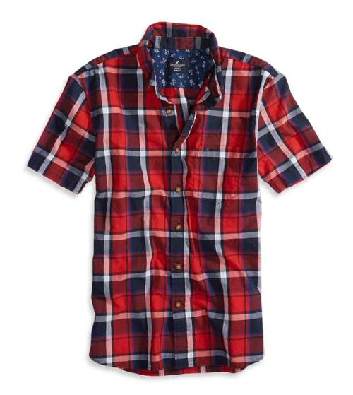 Plaid Short Sleeve Button Down Shirt by AEO Factory in Begin Again