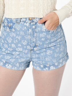 Printed High-Waist Jean Cuff Short by American Apparel in Begin Again
