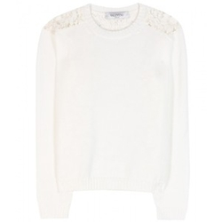 Lace Trimmed Cotton Sweater by Valentino in Suits