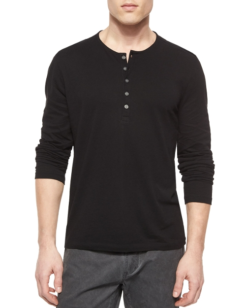 Long-Sleeve Button-Front Henley Shirt by John Varvatos Star USA in Self/Less