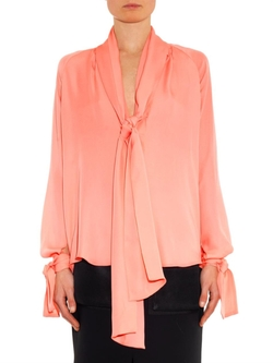V-neck Silk Georgette Blouse by Juan Carlos Obando in Brooklyn