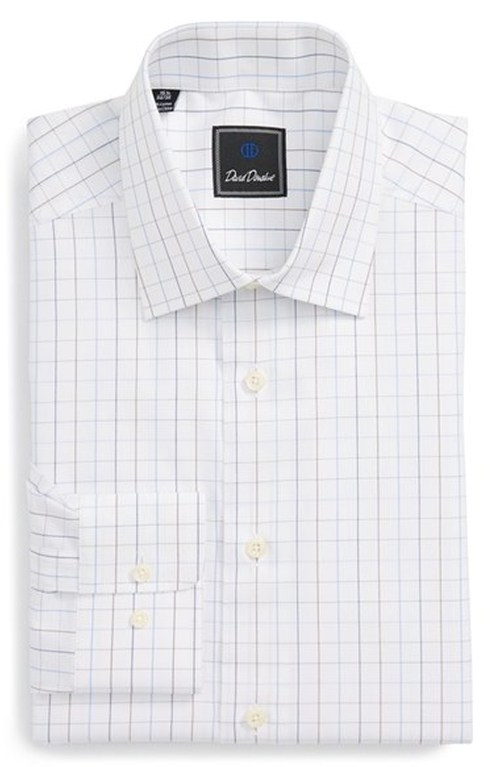 Traditional Fit Check Dress Shirt by David Donahue in Spotlight