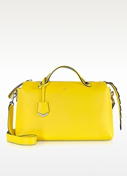By The Way Yellow Leather W/ Crocodile Boston Bag by Fendi in Empire