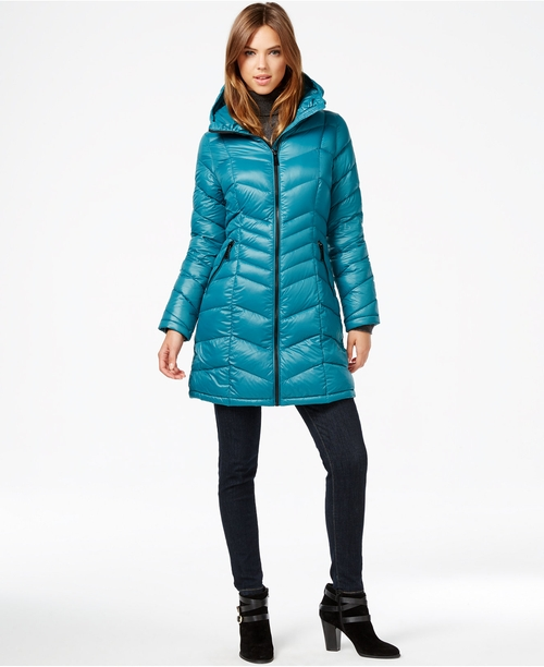 Chevron-Quilted Down Coat by Calvin Klein in Love the Coopers