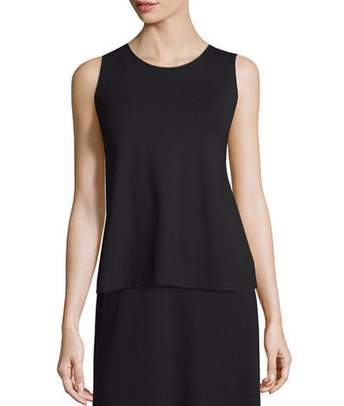 High-Neck Lightweight Jersey Tank by Eileen Fisher in Once Upon a Time