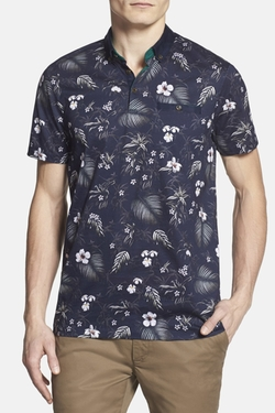 Normat Floral Print Polo Shirt by Ted Baker in New Girl