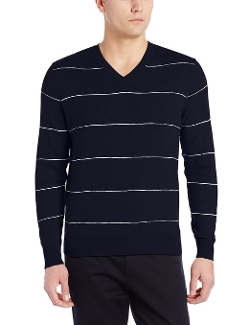 Classic Striped V-Neck Sweater by Dockers in Silver Linings Playbook