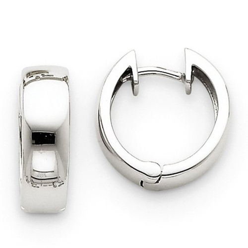 White Gold Huggie Hoop Earrings by The Black Bow in Spy