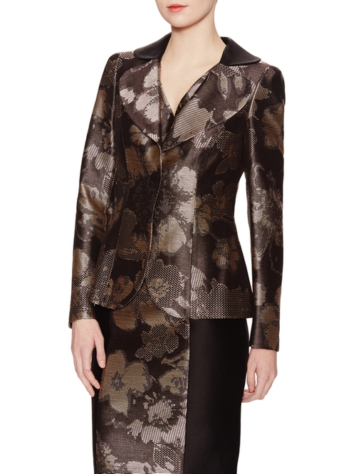 Floral Jacquard Blazer by Armani Collezioni in The Good Wife - Season 7 Episode 4