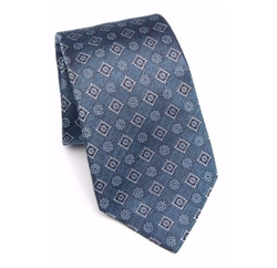 Aqua Medallion Silk Tie by Kiton in Billions
