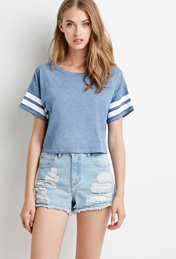 Varsity-Striped Crop Top by Forever 21 in Pitch Perfect 2