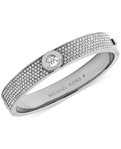 Crystal Pavê Logo Bangle Bracelet by Michael Kors in Southpaw