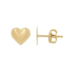 Gold Heart Stud Earrings by Everlasting in Bridesmaids