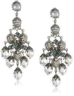 """Pewter"" Bold Crystal Chandelier Silver-Tone Earrings by Sorrelli in Hercules"
