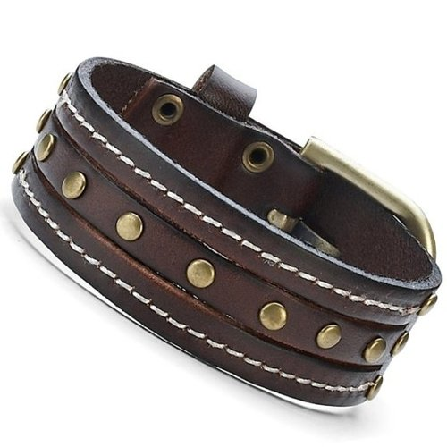 Men's Leather Cuff Studs Bracelet by R&B Jewelry in If I Stay