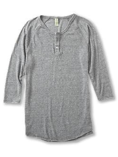 Three-Quarter Sleeve Raglan Henley Shirt by Alternative in The Great Gatsby