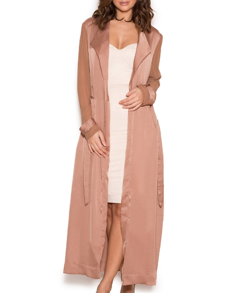 Coryn Duster Coat by House of CB in Keeping Up With The Kardashians - Season 12 Episode 13