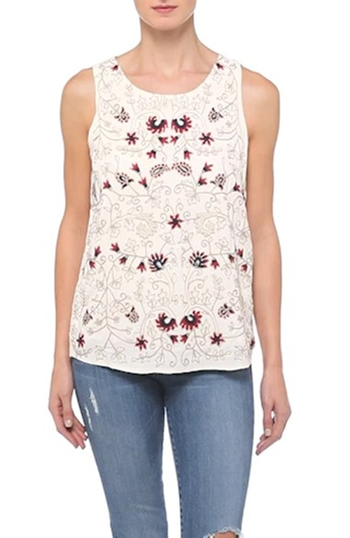 Floral Embroidered Tank Top by Lucky Brand in Nashville