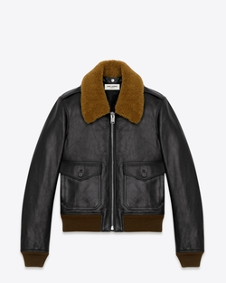 Shearling Collar Leather Jacket by Saint Laurent in Master of None