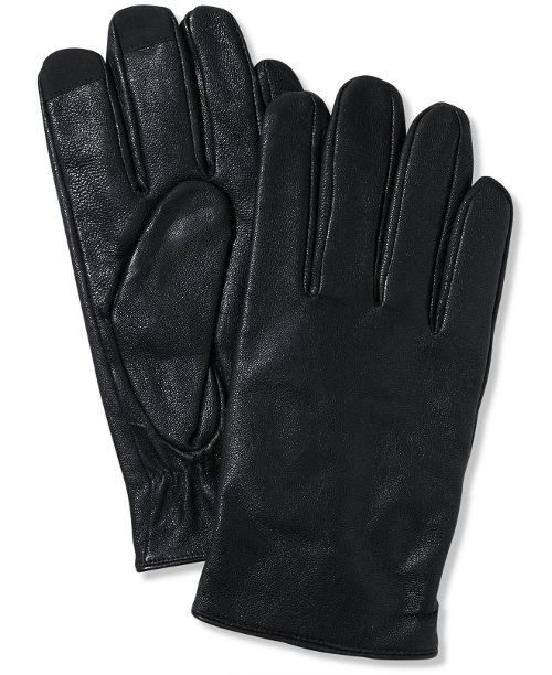 Leather Tech Gloves by Calvin Klein in Barely Lethal