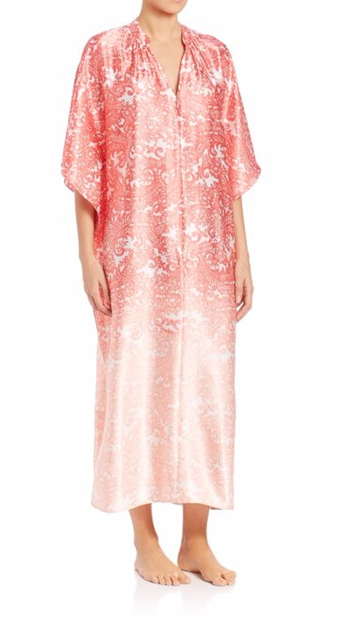 Printed Satin Zip-Front Caftan by Oscar De La Renta Sleepwear in Vinyl - Season 1 Episode 1