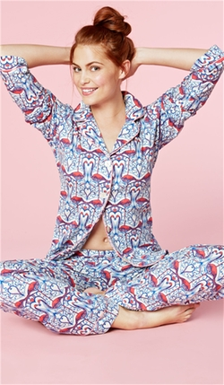 Coral Flamingo Stretch Classic Pajama Set by Bedhead in The Mindy Project