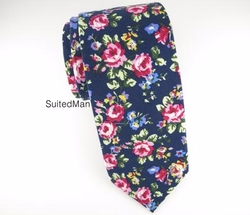 Navy & Violet Petite Rose Floral Tie by Suited Man in The Bachelor