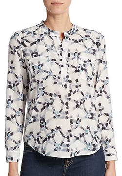 Geo-Print Silk Double Pocket Blouse by Rebecca Taylor in Free State of Jones