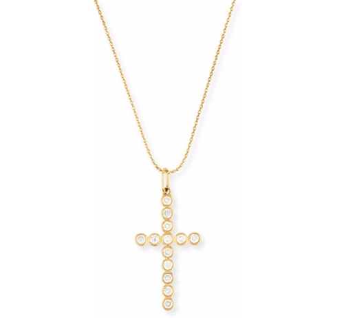 Bezel-Set Diamond Cross Charm Necklace by Sydney Evan in Keeping Up With The Kardashians - Season 12 Episode 16