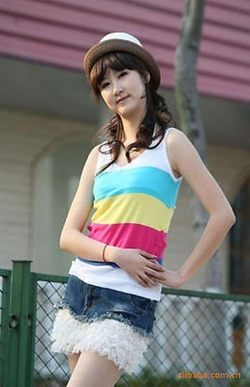 Women's Sleeveless Stripes Knit Tops by Fengbay in The DUFF
