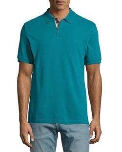 Short-Sleeve Pique Polo Shirt by Burberry Brit	 in Black-ish