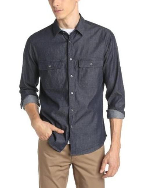 Men's Barham Turini Chambray Button-Down Shirt by Theory in The Vampire Diaries - Season 7 Episode 2