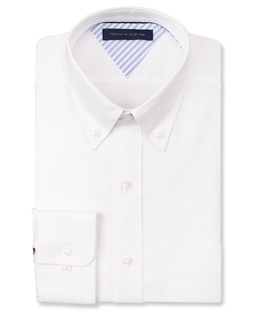White Solid Dress Shirt by Tommy Hilfiger in Mortdecai
