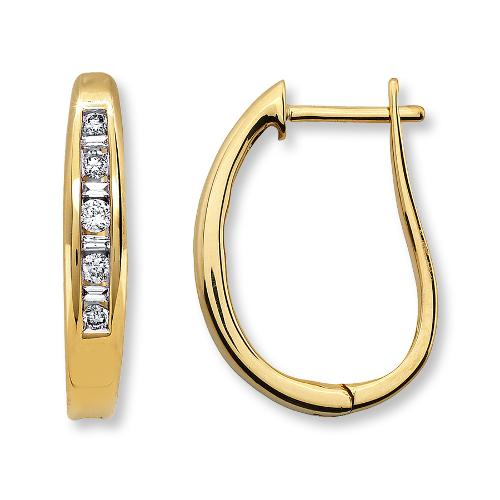 Diamond Hoop Earrings 1/4 Ct Tw Round-Cut 10k Yellow Gold by Jared in The Wolverine
