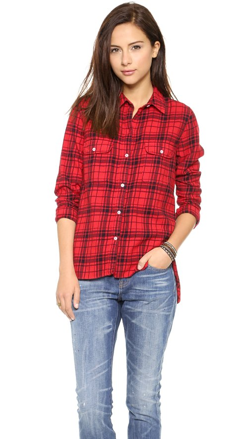 Plaid Flannel Button Down Shirt by Sundry in If I Stay
