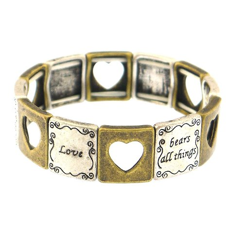 Inspirational Stretch Heart Love Bracelet by Bling Kicks in Begin Again