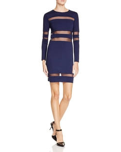 Mesh Stripe Luxe Ponte Fitted Mini Dress by T by Alexander Wang in The Bachelorette