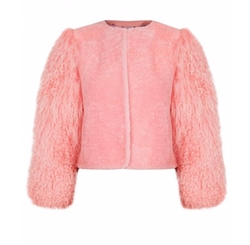 Big Bird Pink Lambswool Jacket by Charlotte Simone in Scream Queens