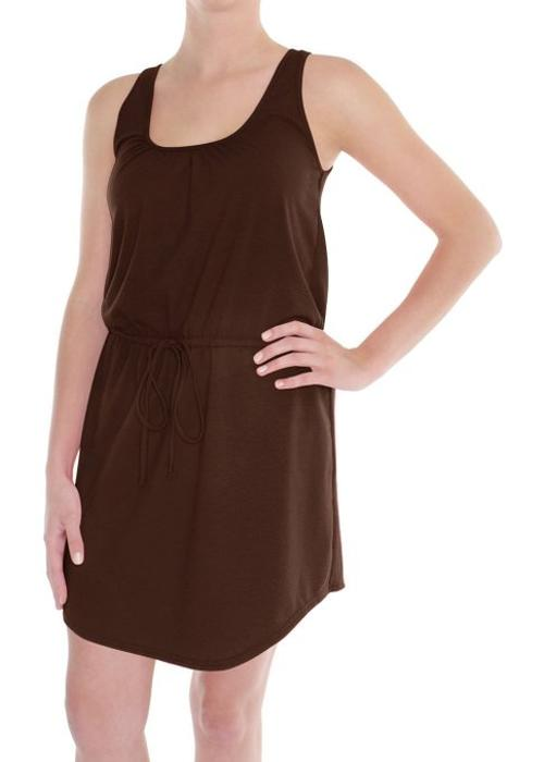 Ladies Solid Knit Tank Dress With Neckline And Drawcord by Capelli New York in Couple's Retreat