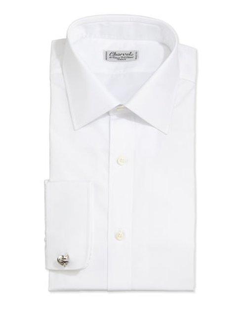 Solid Poplin Dress Shirt by Charvet in Black or White